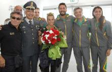 Tania Cagnotto, vincitrice della medaglia d'argento nel sincro e bronzo nel singolo, all'aeroporto di Fiumicino 23 agosto 2016.
