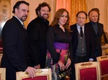 From left to right, Spanish baritone Carlos Alvarez, American tenor Bryan Hymel, Uruguayan soprano Maria José Siri, Orchestra leader Riccardo Chailly, Latvian director Alvis Hermanis, during the press conference of presentation of the opening at La Scala Theatre, 'Madama Butterfly', Milan, 30 November 2016. ANSA / DANIEL DAL ZENNARO